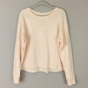 A Loves A Cropped Raw Hem French Terry Sweatshirt